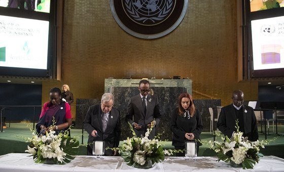 Lighting candles during the commemoration of the International Day of Reflection on the 1994 Genocide against the Tutsi in Rwanda.