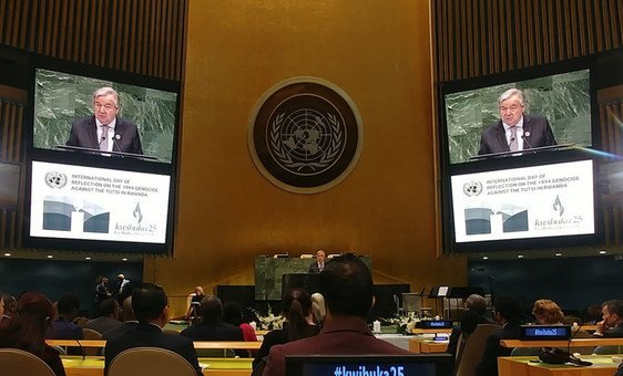 UN Secretary-General António Guterres addresses the Commemoration of the International Day of Reflection on the 1994 Genocide against the Tutsi in Rwanda in the General Assembly Hall, April 2019.