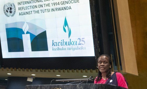 Esther Mujawayo-Keiner, survivor of the 1994 Genocide against the Tutsi in Rwanda, shares her story during the International Day of Reflection, 2019