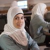 Students in computer programming class at Al Shami Girls Secondary School in the West Bank.