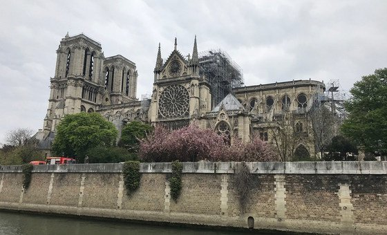 Notre-Dame cathedral after the fire in Paris. Sections of the cathedral were under scaffolding as part of extensive renovations. (16 April 2019)