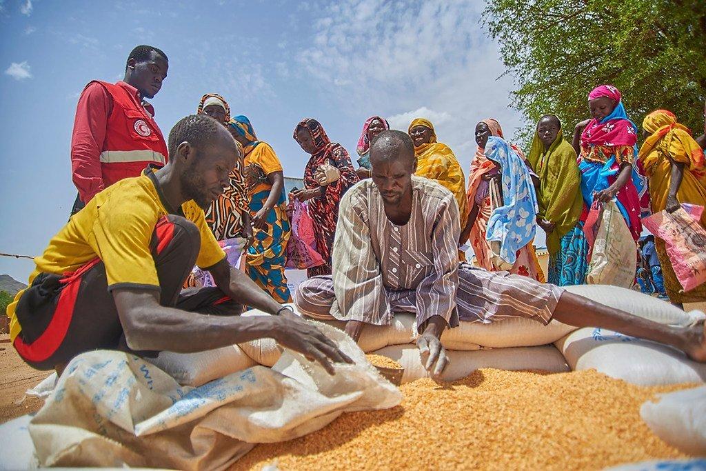 برنامج الأغذية العالمي يوزع المساعدات الإنسانية إلى النازحين بالقرب من مرتا في كادقلي.