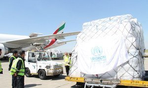UNHCR airfreights in supplies for distribution to those in need after flooding and heavy rains swept 24 of 31 provinces in the Islamic Republic of Iran. The floods displaced 500,000 and left over two million requiring immediate humanitarian relief. (April
