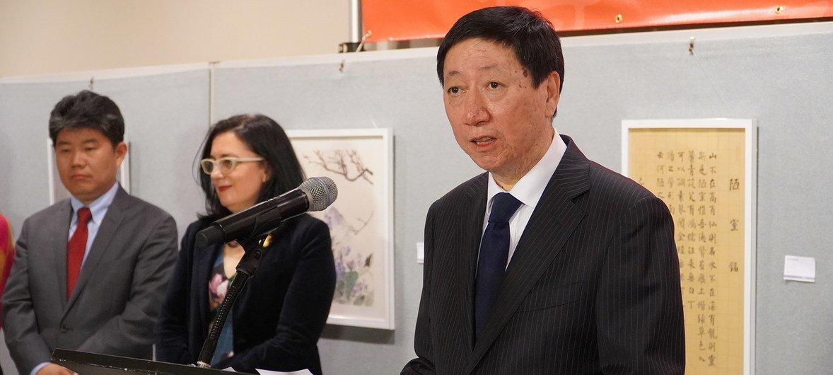 中华人民共和国常驻联合国副代表、特命全权大使吴海涛在2019年联合国中文日的庆祝活动上致辞。