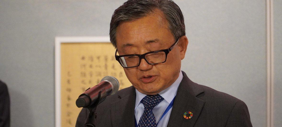 联合国负责经济和社会事务的副秘书长刘振民在2019年联合国中文日的庆祝活动上致辞。