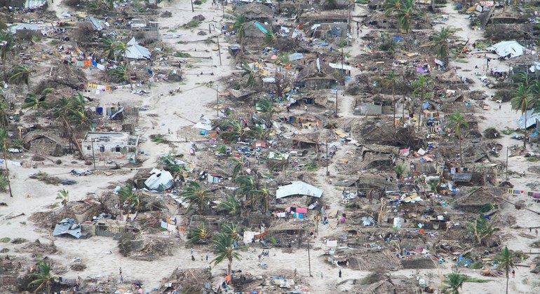 Muchas comunidades fueron completamente destruidas en el distrito de Macomia, en la provincia de Cabo Delgado bajo los efectos del ciclón Kenneth en Mozambique.