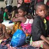 Children sheltering in a school after being displaced by Cyclone Kenneth, in Pemba city, Mozambique.
