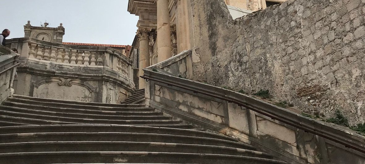 The Jesuit Staircase is located on the south side of Gundulic Square in UNESCO World Heritage Site of the Old City of Dubrovnik.