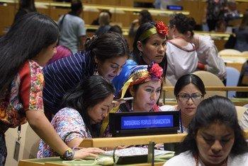 Participantes en la apertura del 18° período de sesiones del Foro Permanente para las Cuestiones Indígenas