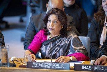 Pramila Patten, Représentante spéciale du Secrétaire général sur la violence sexuelle en temps de conflit, devant le Conseil de sécurité (photo d'archives).