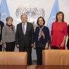 أقصى اليسار، رولا دشتي، وكيلة الأمين العام للأمم المتحدة والأمينة التنفيذية للإسكوا، خلال لقاء مع الأمين العام للأمم المتحدة.