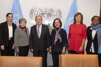 Secretary-General António Guterres (3rd left) is flanked by Executive Secretaries of the Regional Commissions (left to right): Rola Dashti, Economic and Social Commission for Western Asia (ESCWA); Alicia Bárcena, Economic Commission for Latin America and the Caribbean (ECLAC); Armida Alisjahbana, Economic and Social Commission for Asia and the Pacific (ESCAP), Oľga Algayerová, Economic Commission for Europe (UNECE); Vera Songwe, UN Economic Commission for Africa (UNECA).