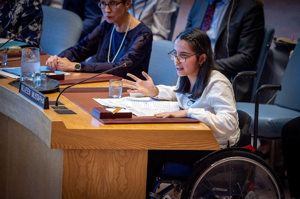 Nujeen Mustafa, réfugiée syrienne handicapée et défenseur des jeunes réfugiés, s'adresse au Conseil de sécurité sur la situation en Syrie.