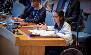 Nujeen Mustafa, wheelchair-bound Syrian refugee and advocate for refugee youth, addresses the Security Council meeting on the situation in Syria.