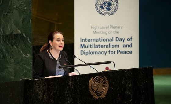 María Fernanda Espinosa Garcés, President of the seventy-third session of the General Assembly, addresses the General Assembly meeting to commemorate and promote the International Day of Multilateralism and Diplomacy for Peace. (April 2019)