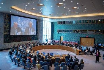 安理会就乌克兰问题召开会议。(2019年4月25日)