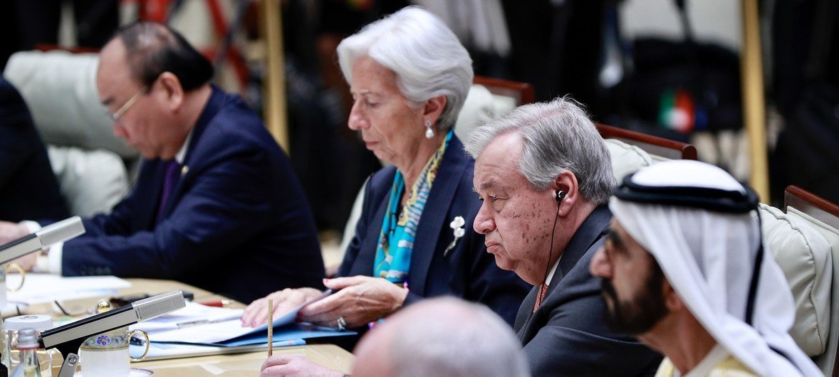 UN Secretary-General  Antonio Guterres attends the Leader's Roundtable on Promoting Green and Sustainable Development to Implement the 2030 Agenda in Beijing, China