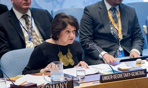 Rosemary DiCarlo, Under-Secretary-General for Political and Peacebuilding Affairs, briefs the Security Council on the situation in the Middle East. 29 April, 2019.