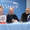 Анн-Сесиль Робер (слева) и Ромюль Сциора (справа) на презентации своей книги в ООН