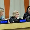 Мария Захарова, Алисон Смейл и Памела Фальк на мероприятии в ООН по роли СМИ в демократическом обществе