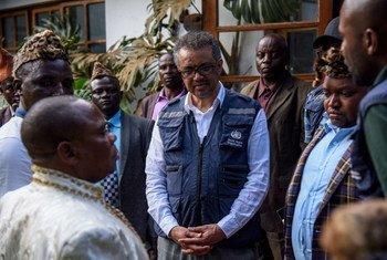Le Directeur général de l'OMS, le Dr Tedros, lors d'une visite à Butembo, dans l'Est de la RDC (archives).