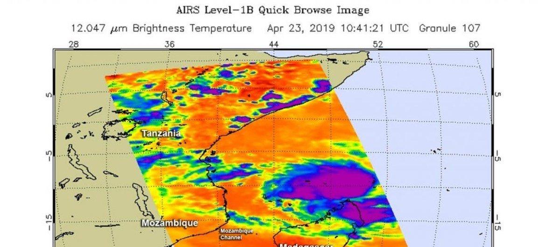 Imagem de satélite da Nasa do ciclone Kenneth a 23 de abril