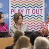 Певица Ашанти (справа) на пресс-конференции в штаб-квартире ООН