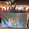 """由世界劳工组织、挪威常驻联合国代表团、哥斯达黎加常驻联合国代表团于4月29日组织了""""登顶35层""""爬楼梯活动,旨在让联合国工作人员和外交官了解大楼的消防通道以便在发生紧急事件时尽快逃离,并加强锻炼保持健康。"""