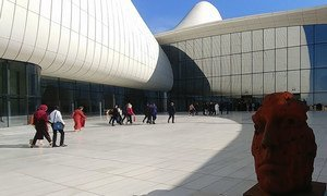 Heydar Aliyev Centre, Baku, Azerbaijan was designed by Iraqi-British architect Zaha Hadid.