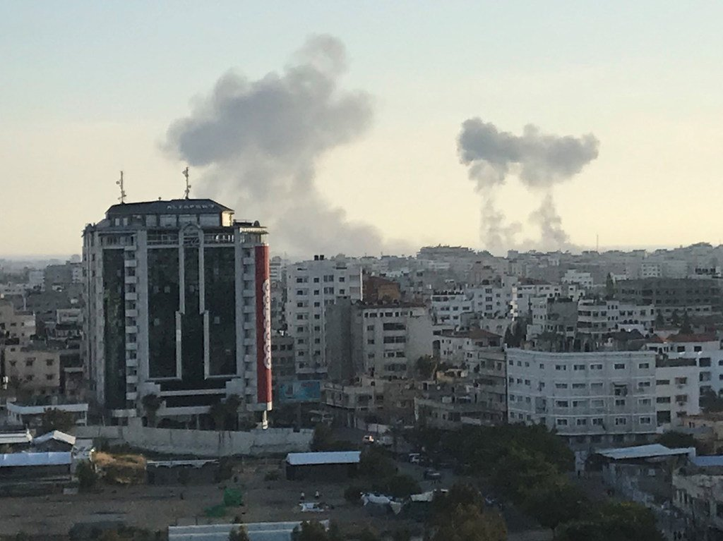 Rimal neighborhood in the centre of Gaza City with smoke rising after 4 May 2019 Israeli airstrikes.