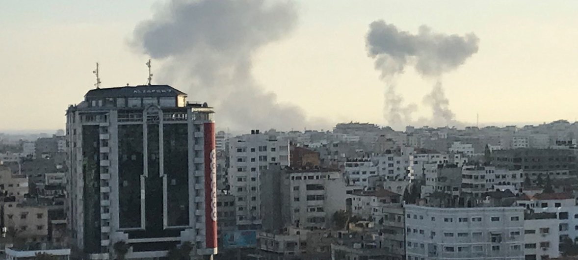 Archivo: El Barrio de Rimal, en el centro de Gaza, tras los ataques en la parte este de la ciudad. 4 de mayo de 2019.