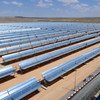 Rows of solar panels at the Ain Beni Mathar thermo-solar power plant in Morocco. (file 2010)