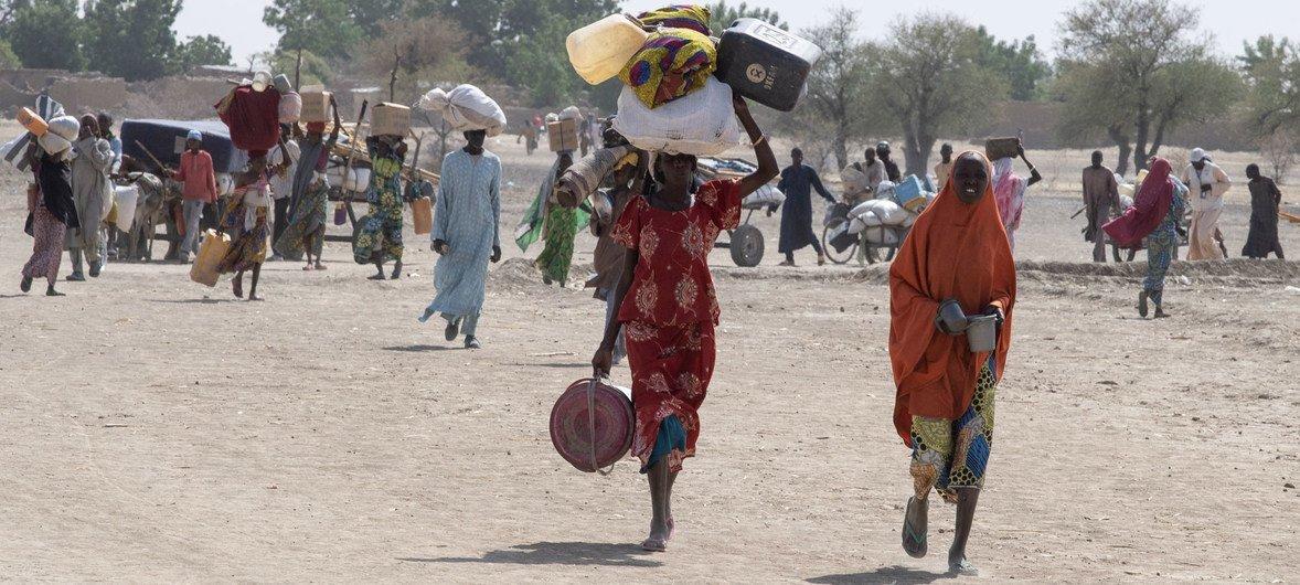 尼日利亚东北部为躲避暴力而流离失所的平民。