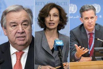 De gauche à droite : António Guterres, Secrétaire général de l'ONU ; Audrey Azoulay, Directrice générale de l'UNESCO ; David Kaye, Rapporteur spécial de l'ONU sur la promotion et la protection du droit à la liberté d'opinion et d'expression.