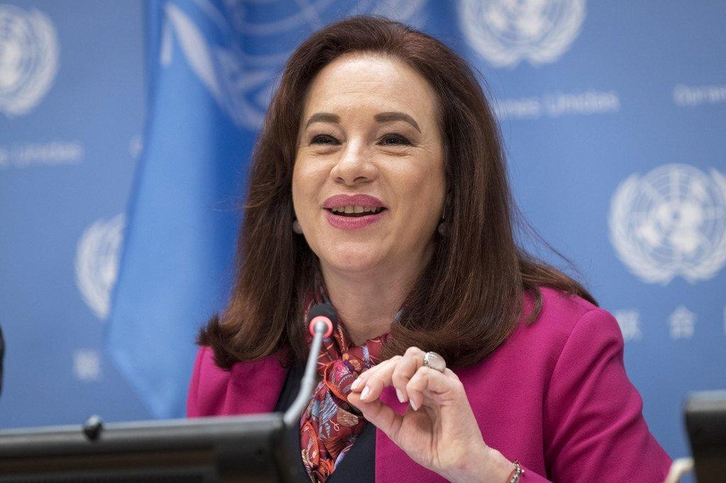 La Présidente de l'Assemblée générale des Nations Unies, Maria Fernanda Espinosa.