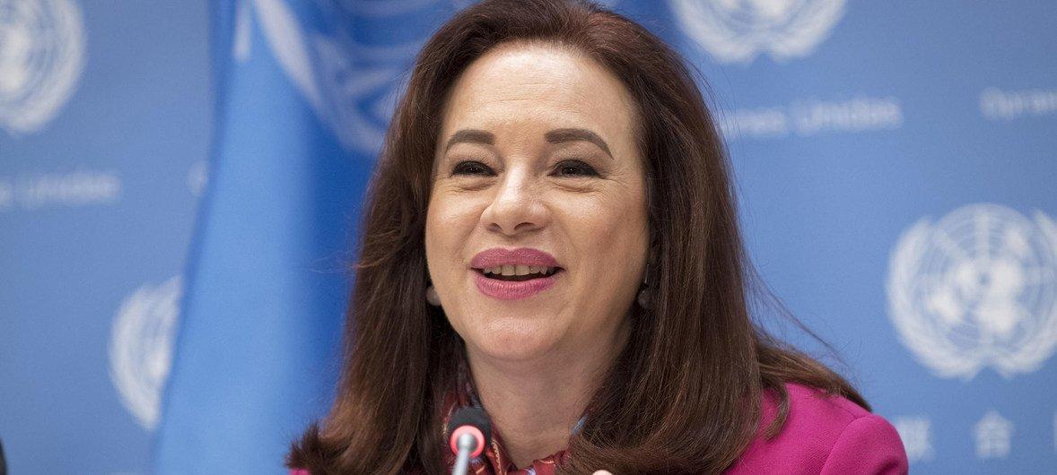 """联大主席埃斯皮诺萨4月30日在联合国纽约总部就6月1日举办的""""大声唱出来""""反对一次性塑料主题音乐会举行新闻发布会。"""
