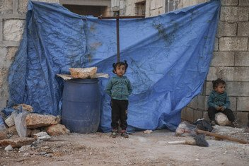Children and their families living in a makeshift camp in a hard-to-reach area in western rural Aleppo, Syria.