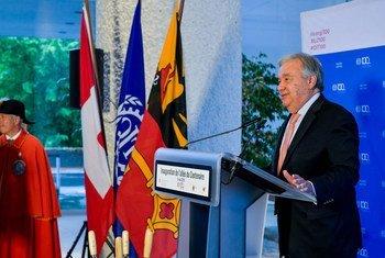 Le Secrétaire général de l'ONU, António Guterres, s'exprime lors des célébrations du 100e anniversaire de l'Organisation internationale du Travail (OIT) à Genève.