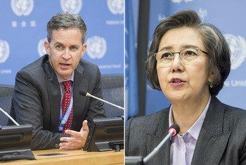 David Kaye, rapporteur spécial sur la promotion et la protection du droit à la liberté d'opinion et d'expression (à gauche) et Yanghee Lee, rapporteur spécial sur la situation des droits de l'homme au Myanmar.