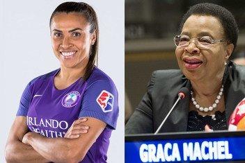 Duas lusófonas entre os 17 defensores dos ODSs, jogadora Marta Vieira da Silva e activista de direitos humanos Graça Machel.