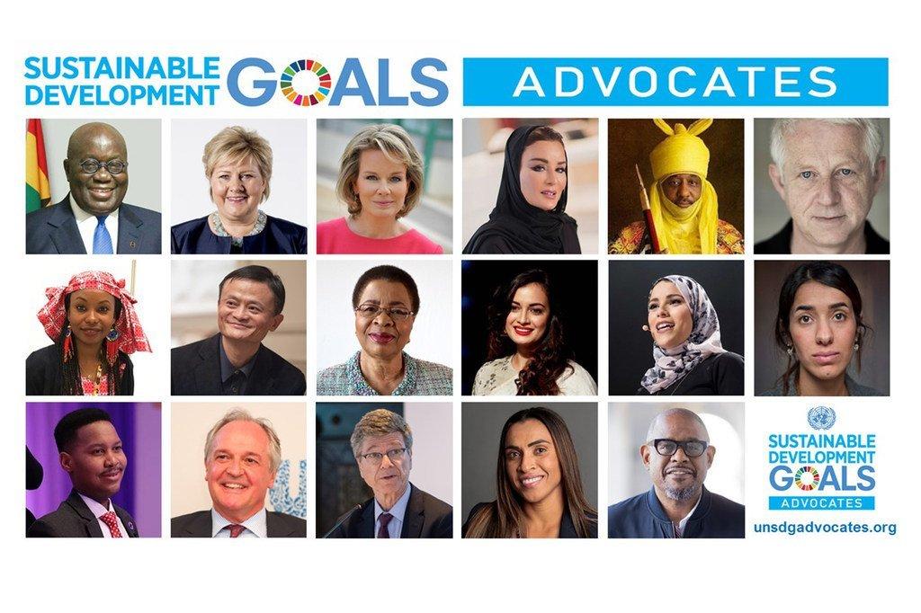 Portrait photo des 17 personnalités nommées par l'ONU pour défendre le développement durable