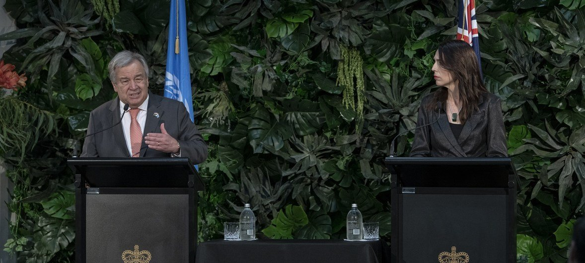 Secretary-General António Guterres at press encounter with Jacinda Ardern, Prime Minister of New Zealand, in Auckland.