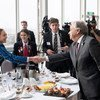 Secretary-General António Guterres attends a morning breakfast with climate action-focused Maori and Pasifika youth.