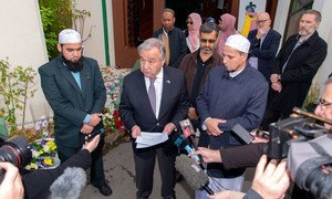 Secretary-General António Guterres speaks to the press after visiting Al Noor Mosque in Christchurch, New Zealand, to pay respects and show solidarity for Ramadan. The Mosque was the first site of two terrorist attacks that took place on 15 March 2019.