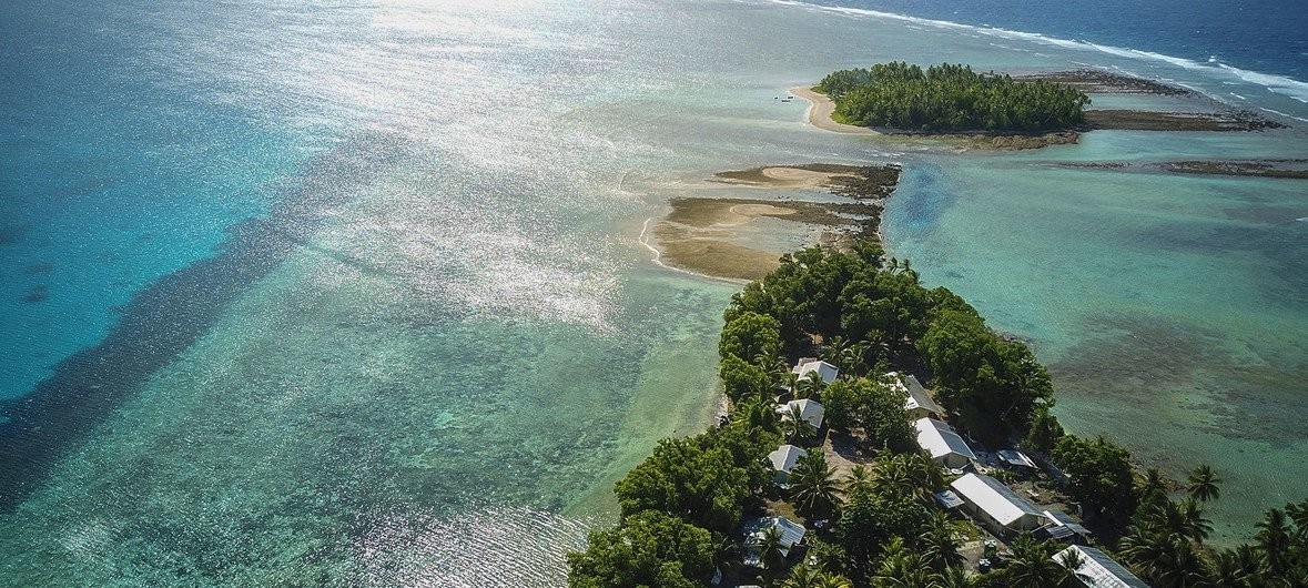 The low-lying island nation, Tuvalu, in the Pacific Ocean is particularly susceptible to higher sea levels caused by climate change.