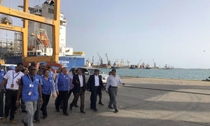 (File) The Chairman of the Redeployment Coordination Committee, Lieutenant General Michael Lollesgaard, visits the ports of Hudaydah, Salif and Ras Issa.