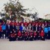 """طلاب مشاركون في مبادرة منظمة الصحة العالمية """"الرياضة من أجل الصحة""""، التي أطلقتها بجامعات مصر."""