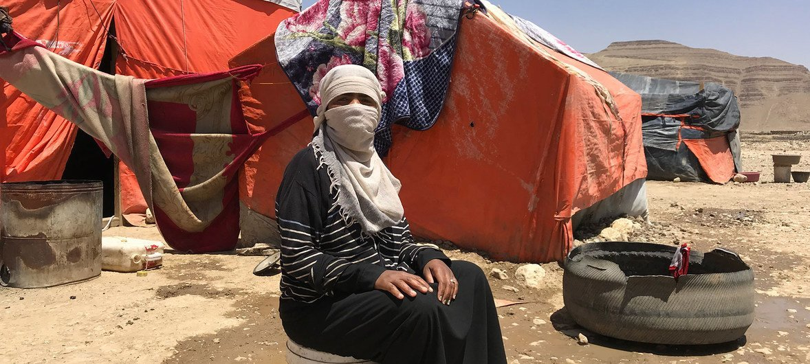 Faiza Ali, a mother of five, says her family were displaced by fighting in Sa'ada and now the family live in a tent. (16 April 2019)