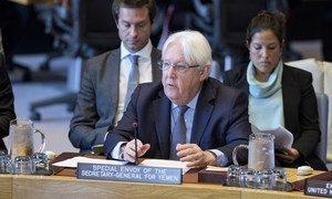 مارتن غريفيثس المبعوث الخاص للأمين العام لليمن، يتحدث أمام مجلس الأمن الدولي. (من الأرشيف)