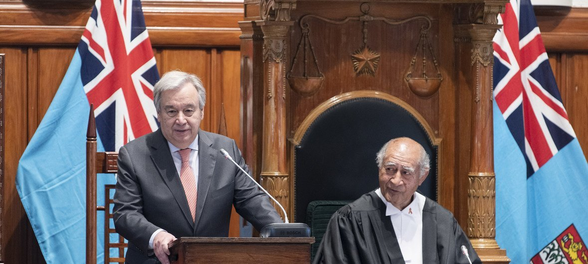The UN Secretary-General António Guterres address the Fijian Parliament in the capital, Suva, on 16 May 2019.